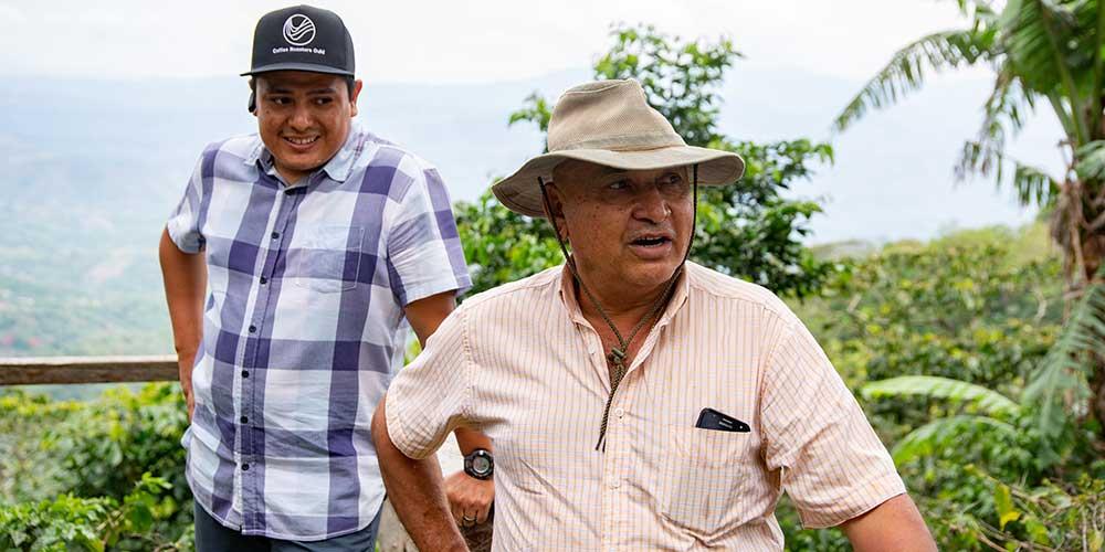 German and his father-in-law Rene Contreras on Finca Monte Verde in El Salvador.